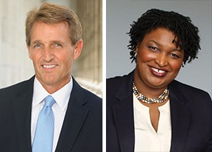 <p>Stacey Abrams and Jeff Flake are a dynamic, in-demand duo</p>