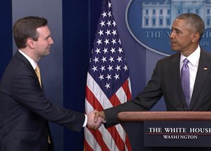 <p>Josh Earnest Praised by President Obama at his Final Press Briefing </p>