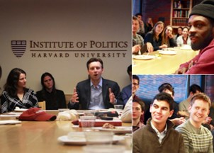 <p>Josh Earnest meets with students before speaking at Harvard's Institute of Politics</p>