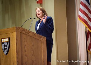 "<p>Karen Mills delivers powerful ""Leading in Uncertain Times"" talk</p>"