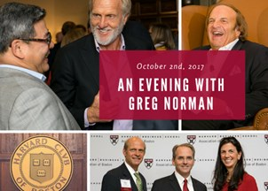 <p><strong>Greg Norman reveals the keys to success at the Harvard Club</strong></p>