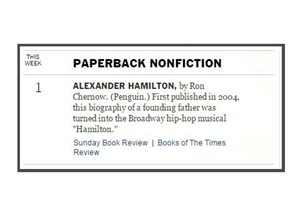 <p>Ron Chernow's portrait of Alexander Hamilton is #1 NYT Bestseller's List </p>