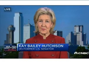 <p>Sen. Kay Bailey Hutchison is a regular political contributor on CNBC</p>