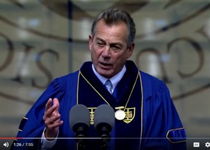 <p>Former Speaker of the House John Boehner shares Notre Dame's Highest honor with Vice President Joe Biden</p>