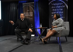 <p>Andrew Young delivers powerful remarks at Martin Luther King Jr. Day event </p>