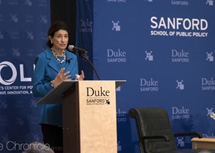 <p><strong>Olympia Snowe shares insights into bipartisanship at Duke Sanford School of Public Policy</strong></p>
