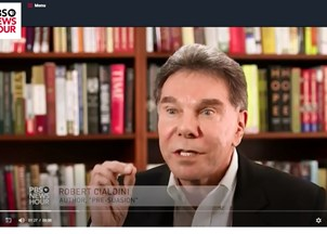 <p>Robert Cialdini featured in PBS News Hour</p>