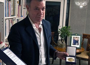<p>President Juan Manuel Santos is the subject of a powerful documentary </p>